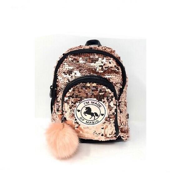 Rose gold Pom Pom mini back pack